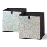 Mainstays Reversible Sequin Collapsible Cube Storage Bins, Set of 2, Mutiple Colors
