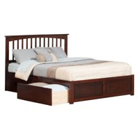 Mission Platform Bed with Flat Panel Foot Board and 2 Urban Bed Drawers in, Multiple Colors and Sizes
