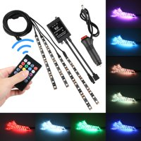 4-pack 8 Colors 12V RGB Car LED Neon Underglow Atmosphere Wireless Remote Control Light Kit Sound Active for Car Bumper Car Interior