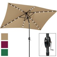 Best Choice Products 10x6.5ft Rectangular Solar LED Patio Umbrella w/ USB Charger, Portable Power Bank, Tilt