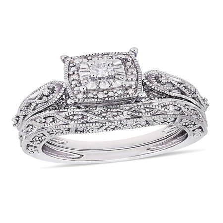 1/5 Carat T.W. Diamond Sterling Silver Halo Bridal (Forever Yours Bridal)