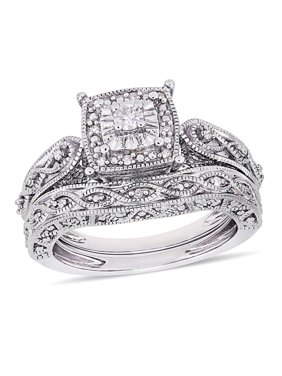 1/5 Carat T.W. Diamond Sterling Silver Halo Bridal Set