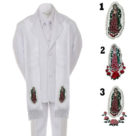 Boy Kid Formal 1st Communion Christening Baptism White Tuxedo Suit Stole Sm-20 - First Communion Suits For Boy