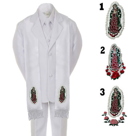 First Communion Tie (Boy Kid Formal 1st Communion Christening Baptism White Tuxedo Suit Stole)