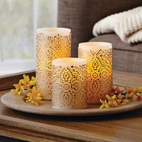Product Image Better Homes Gardens LED Flameless Pillar Candle Set Malaysian Motif