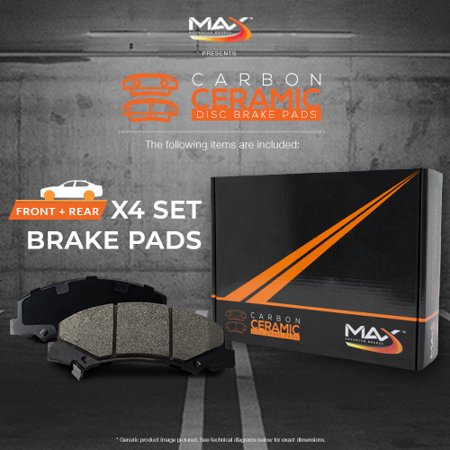 Max Brakes Front + Rear Carbon Ceramic Performance Disc Brake Pads KT176853 |Fits 2015 Audi Q3 - image 5 de 6