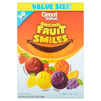 Great Value Tangy Fruit Smiles Snacks Value Size, 45 Oz., 50 Count