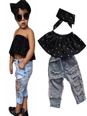 3pcs Newborn Baby Girls Dot Off Shoulder Tops + Ripped Hole Jeans Casual Pants Outfits Clothing Set
