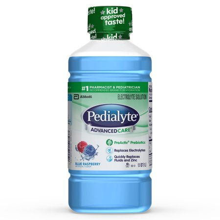 (4 pack) Pedialyte AdvancedCare Electrolyte Solution with PreActiv Prebiotics, Hydration Drink, Blue Raspberry, 1 - Electrolyte Enhanced Hydration Supplement Lemon