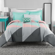 Mainstays Gray & Teal Bed in a Bag Bedding