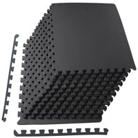 "Everyday Essentials 1/2"" Thick Flooring Puzzle Exercise Mat with High Quality EVA Foam Interlocking Tiles, 12 Piece, 48 Sq Ft, Black"