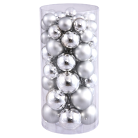 "50ct Silver Splendor Shatterproof Shiny and Matte Christmas Ball Ornaments 1.5""-2"""