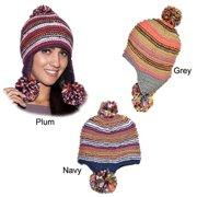 Tripple Dangle Pompom Acrylic Hand-knit Hat (Nepal) Plum