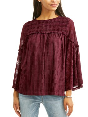 Women's Printed Lace Peasant Top