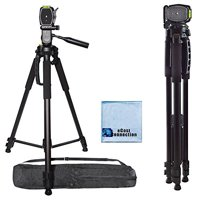 72 Inch Elite Series Professional, Full Size Camera Tripod for Canon, Nikon, Sony, Samsung, Olympus, Panasonic & Pentax + eCostConnection Microfiber Cloth