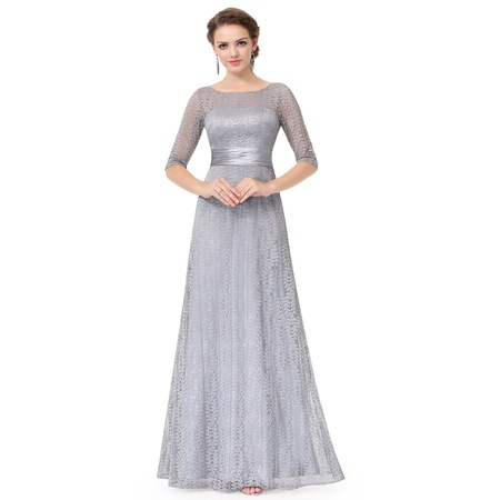 Ever-Pretty Women's Elegant Long A-Line Floral Lace Formal Evening Wedding Guest Mother of the Bride Dresses 08878 for Women Grey 4 US ()