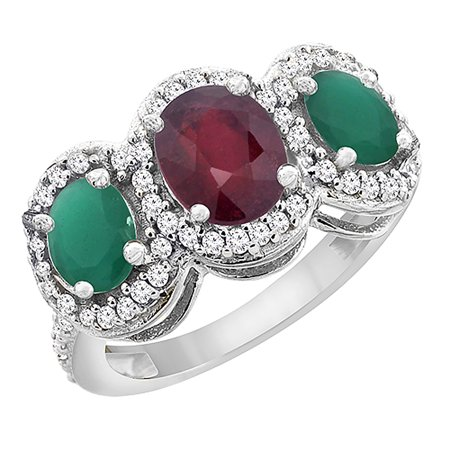 10K White Gold Enhanced Ruby & Cabochon Emerald 3-Stone Ring Oval Diamond Accent, size 5