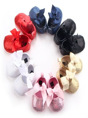 Kacakid Baby Girls Bow PU Leather Bling Frist Walkers Shoes Soft Soled Non-slip Footwear Crib Soft Bottom Anti-slip Shoes