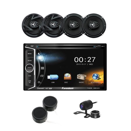 "Car Audio Bundle with DVD Multimedia Car Stereo, 6.5"" 3-Way Coaxial Speakers, Tweeters & Backup Camera"