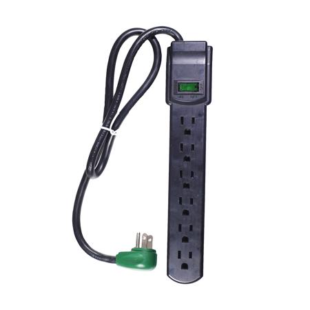 GoGreen Power 6 Outlet Surge Protector, GG-16103MSBK 2.5' cord, Black (Adjustable Black Cord)