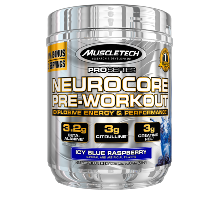 Pro Series Neurocore Pre Workout Powder with Creatine, Beta-Alanine, & Citrulline, Icy Blue Raspberry, 30 Servings (255g) ()