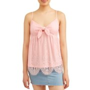 868bbc3ee4 Juniors  All Over Lace Tie Front Scalloped Tank