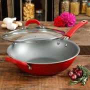 The Pioneer Woman Red Speckled 12-Inch Everyday Pan with Lid