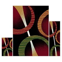 Home Dynamix Ariana 3-Piece Area Rug Set, Black/Red