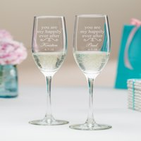 Personalized You Are My Happily Ever After Champagne Flutes