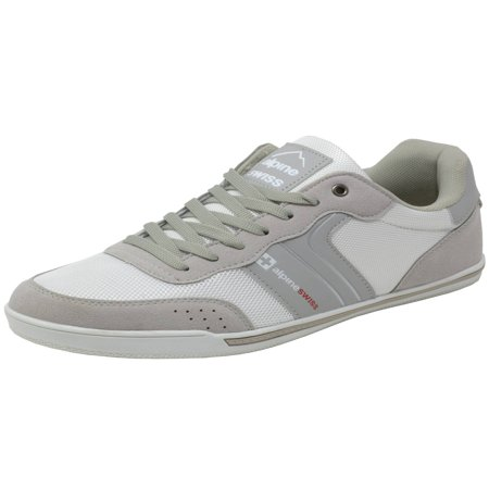 Alpine Swiss Liam Mens Fashion Sneakers Suede Trim Low Top Lace Up Tennis (K Swiss Defier Rs Mens Tennis Shoes)