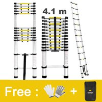 Finether 13.5ft Aluminum Telescopic/Telescoping Loft Extension Multi-Purpose Ladder, EN 131 Certified with Work Gloves, Ladder Carrying Bag and Finger Protection Spacers, 331 lbs Capacity