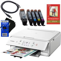 Canon PIXMA TS6020 Wireless All-in-One Compact Inkjet Printer with Print, Scan, Copy (White) + Set of Ink Tanks + Photo Paper Sample + USB Printer Cable + HeroFiber Ultra Gentle Cleaning Cloth