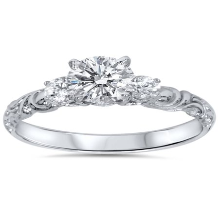 3/4 ct Vintage 3 Stone Art Deco Round Diamond Engagement Ring 14K White (Diamond Engagement Ring Vintage Setting)