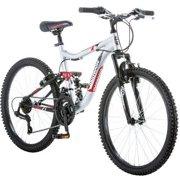 "24"" Mongoose Ledge 2.1 Boys' Mountain Bike, Silver/Red"
