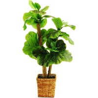 "38"" Artificial Mini Fiddle-Leaf Fig Tree in a Square Basket with Faux Dirt"