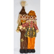 The Holiday Aisle Standing Boy and Girl Scarecrow Figurine