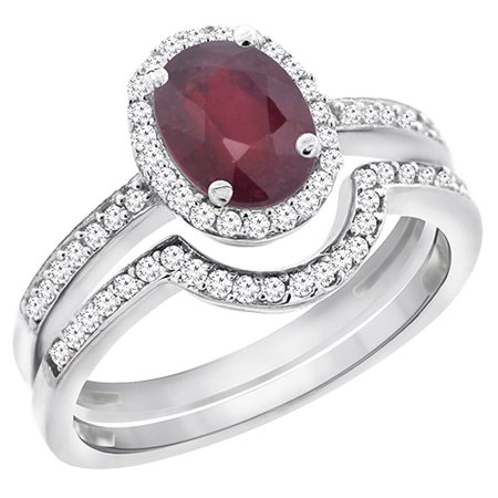 8x6 Oval Ring - 14K White Gold Diamond Natural High Quality Ruby 2-Pc. Engagement Ring Set Oval 8x6 mm, size 6