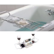 HERCHR Bathtub Tray Book Holder and Bed Tray Stainless Steel Extendable  24.4 - 33.46 Wide Wine 23204a7e1