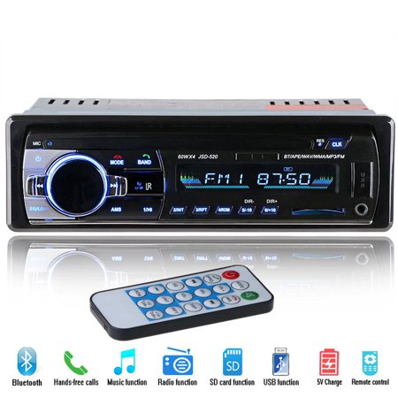2018 New 12V Car Stereo FM Radio MP3 Audio Player Support Bluetooth Phone with USB/SD MMC Port Car Electronics In-Dash 1 DIN Apple Black Audio Video Player