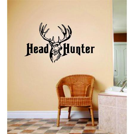 Custom Wall Decal Head Hunter Deer Buck Image Animal Hunting Hunter picture Art Boys Men Sticker Vinyl Wall Decal 6 X 12 Inches ()