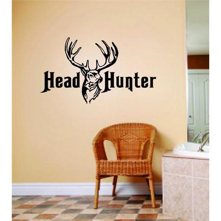 Custom Wall Decal Head Hunter Deer Buck Image Animal Hunting Hunter picture Art Boys Men Sticker Vinyl Wall Decal 6 X 12 Inches