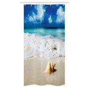 Seashells Stall Shower Curtain Nautical Picture Of Sunny Sandy Coastline Caribbean Ocean With Waves