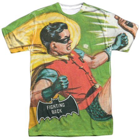 Batman Classic TV Series Retro Robin Fighting Back Adult 2-Sided Print T-Shirt](Womens Robin Shirt With Cape)