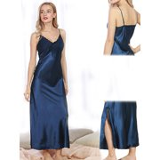 e5541324670 Women Summer Sexy Satin Lace Long Nightgown Slip Lingerie Chemise Robe Color  Blue Size L