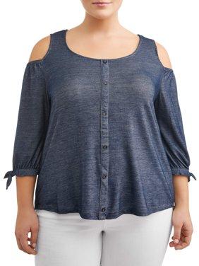 Women's Plus Size Cold Shoulder Button Up Denim Top