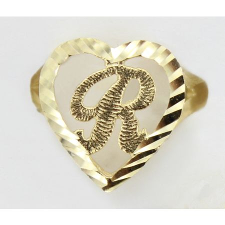 10K Solid Yellow Gold Round Heart Initial Leter Alphabet Ring -