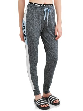 Juniors' Double Waist Band Graphic Joggers