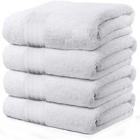 4-Piece Bath Towels Set for Bathroom, Spa & Hotel Quality | 100% Cotton Turkish Towels | Absorbent, Soft, and Eco-Friendly - White