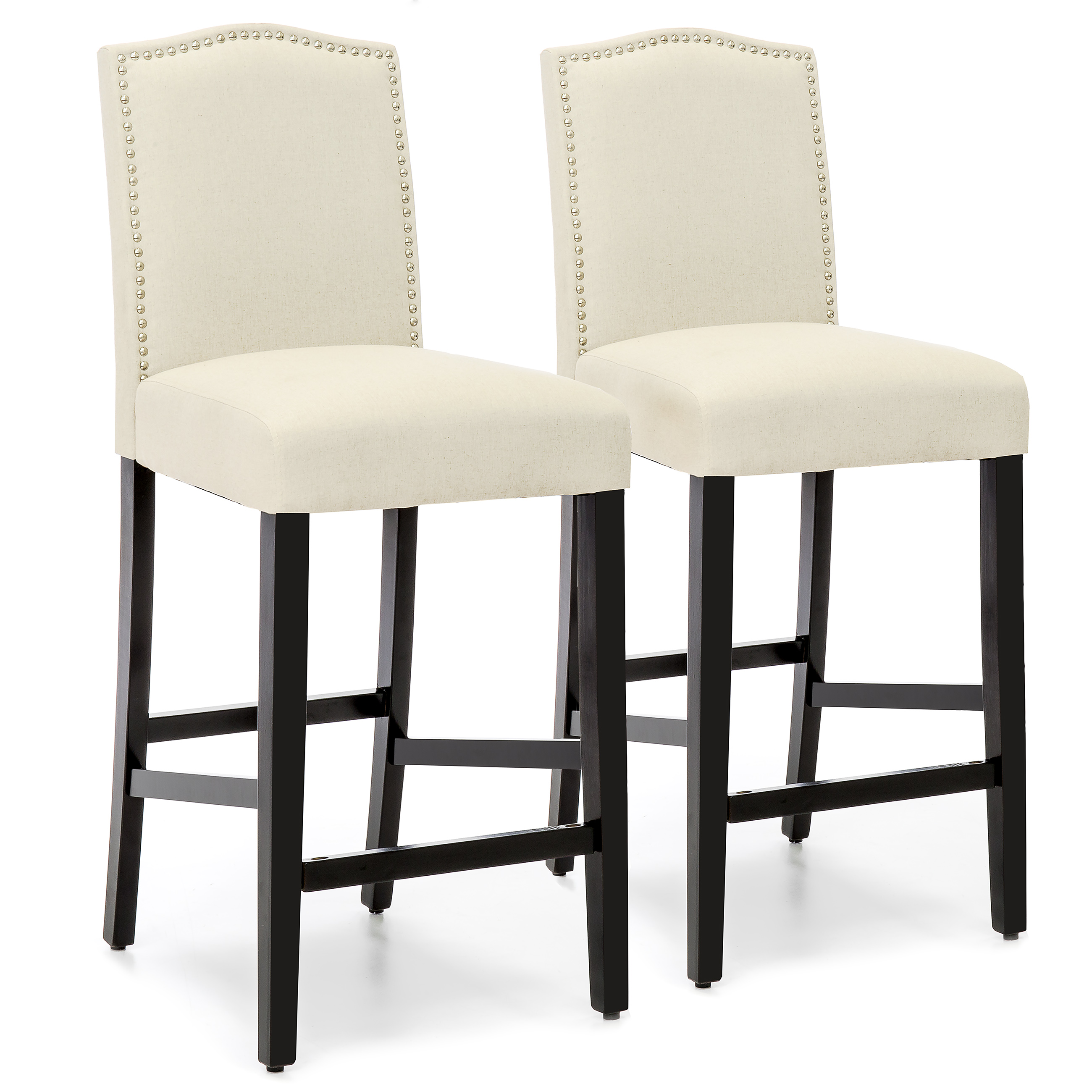 Superbe Best Choice Products Set Of 2 30in Contemporary Faux Leather Counter Height  Armless Backed Accent Breakfast