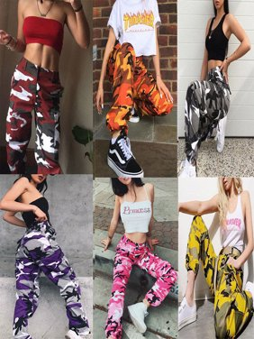Womens Camo Cargo Trousers Casual Pants Military Army Combat Camouflage Pant